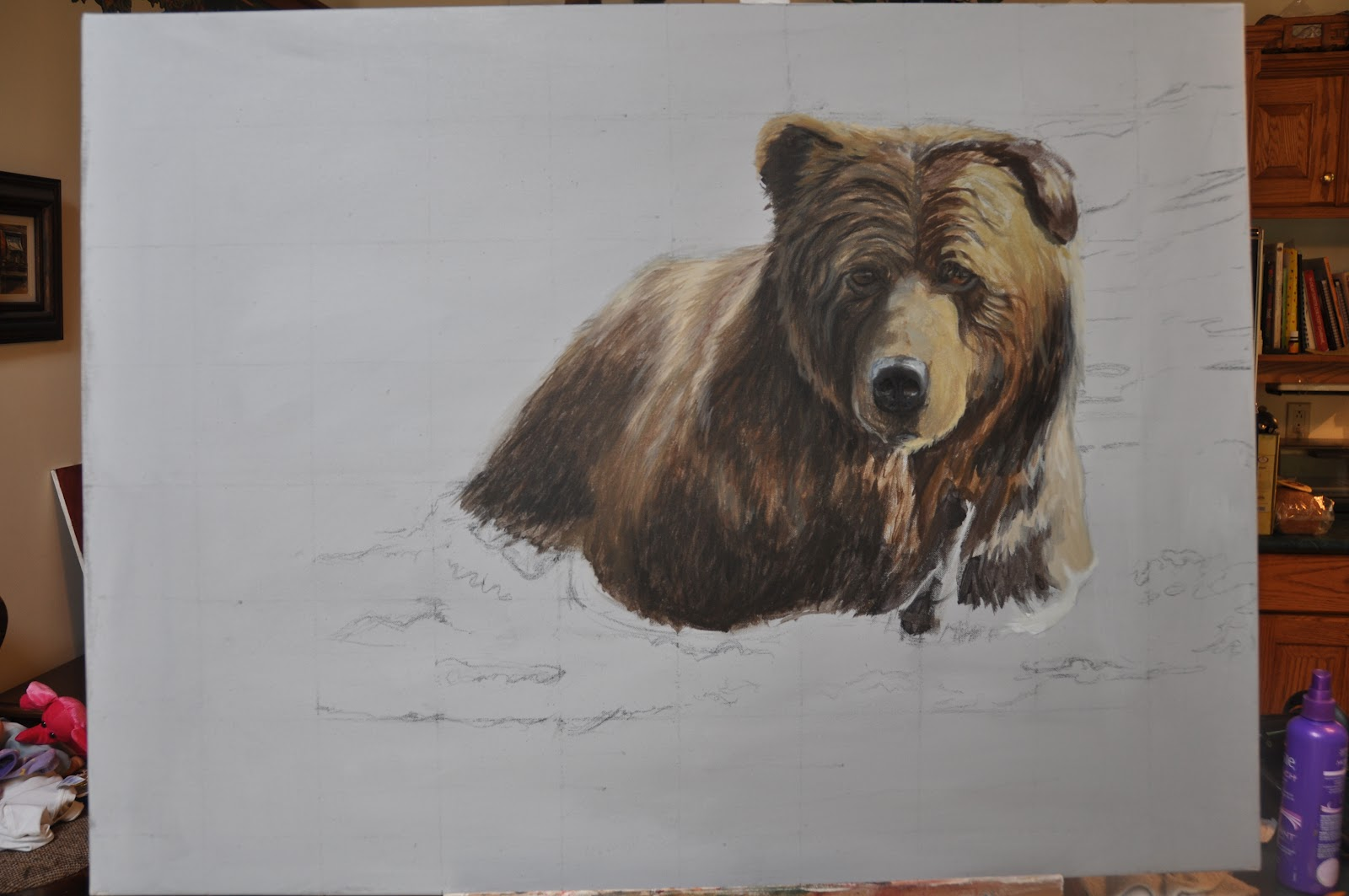 Grizzly Bear Oil Painting Grizzly bear painting